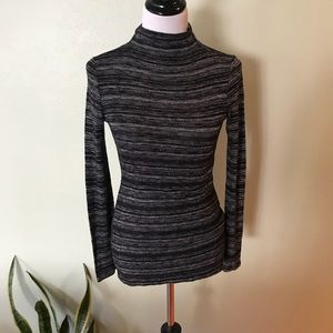 Sweaters - Grey Marbled Fitted Sweater w/ Low Turtleneck